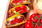 image of tacos  - Mexican tacos in tortilla shells with fresh vegetables - JPG