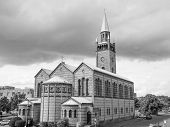 stock photo of evangelism  - St Matthauskirche evangelic church in Berlin Germany in black and white - JPG