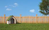 image of wooden fence  - Dog - JPG