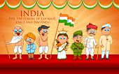 picture of gandhi  - illustration of kids in fancy dress of Indian freedom fighter - JPG