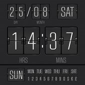 picture of analogy  - Analog black scoreboard digital week timer - JPG