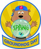 picture of groundhog day  - Cute cartoon groundhog with a crystal ball - JPG