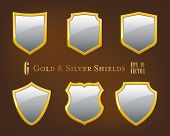 image of shield  - Collection of golden and silver shields - JPG