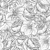 stock photo of wildflowers  - Gentle Spring Monochrome Seamless Floral Botanical Pattern with Roses and Wildflowers - JPG