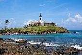 stock photo of lighthouse  - View of the famous Farol da Barra  - JPG