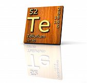 Tellurium Form Periodic Table Of Elements - Wood Board poster