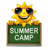 stock photo of recreation  - Summer camp message on a school chalk board with text written as a symbol of after school recreation and fun education with a happy sun character as an icon for childhood success - JPG