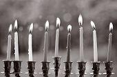 stock photo of menorah  - Hanukkah menorah lit with eight candles at the last day of Hanukah - JPG