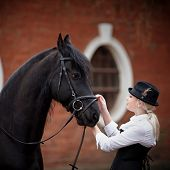 pic of horse girl  - Portrait of the girl and black horse - JPG