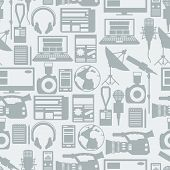 image of mass media  - Seamless pattern with journalism icons - JPG