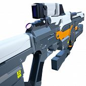 stock photo of rifle  - Back view of the assault rifle for futuristic troopers - JPG