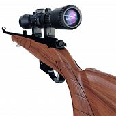 pic of rifle  - Back view of a hunting or sport rifle - JPG