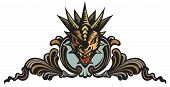 pic of dragon head  - Graphic vector illustration of the dragons head in ornate shield - JPG