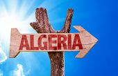 image of algiers  - Algeria wooden sign with sky background - JPG