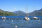 picture of annecy  - yachts moored on Lake Annecy in France - JPG