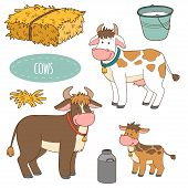 picture of calf cow  - Set of cute farm animals and objects - JPG