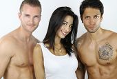 image of threesome  - woman happy to be with two bare - JPG