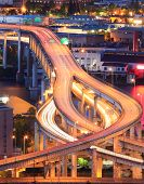 picture of portland oregon  - Night Scene of Interstate 5 in Portland Oregon during rush hour - JPG
