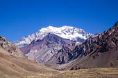 stock photo of aconcagua  - A travel shot of the Aconcagua Mountain trail - JPG