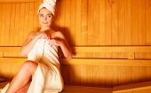 image of sauna woman  - Spa beauty well being and relax concept - JPG