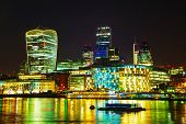picture of london night  - Financial district of the City of London in the night - JPG