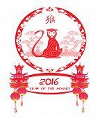 pic of chinese zodiac animals  - Chinese zodiac signs monkey card  - JPG