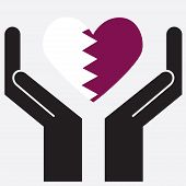 picture of qatar  - Hand showing Qatar flag in a heart shape - JPG