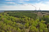 picture of thermal  - forest and thermal power plant near the town - JPG