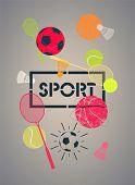 image of shuttlecock  - Sport poster with basketballs - JPG