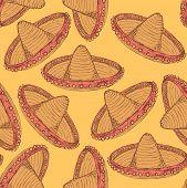 foto of sombrero  - Sketch mexican sombrero in vintage style vector seamless pattern - JPG