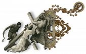stock photo of crucifiction  - Victorian letter F with Jesus Christ enfeebled by the weight of the cross - JPG
