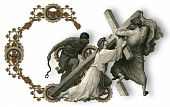 picture of crucifiction  - Victorian letter G with Jesus Christ enfeebled by the weight of the cross - JPG