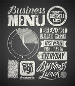 stock photo of lunch  - Restaurant menu typographic design on chalkboard - JPG