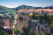 image of embellish  - Close up view of the Orthodox Varlaam Monastery and the bridge in Meteora Greece - JPG