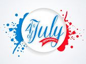 foto of nationalism  - Glossy sticky design with text 4th of July on national flag color splash background for American Independence Day celebration - JPG