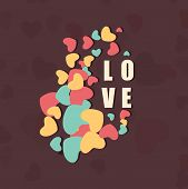 picture of corazon  - Colorful hearts decorated greeting card with text Love - JPG