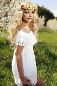 image of headband  - fashion outdoor photo of beautiful sensual woman with long blond hair and flower - JPG