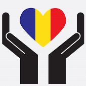 image of chad  - Hand showing Chad flag in a heart shape - JPG