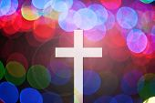 stock photo of passion christ  - christ cross on abstract motion blur background with lighting lens flare and rainbow for web - JPG