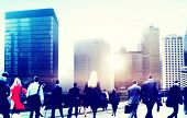 foto of hustle  - Business People Rush Hour Walking Commuting City Concept - JPG