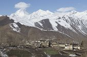 picture of mustang  - Local houses at Muktinath village in lower Mustang district Nepal. This photo was shot in early morning. Area was cover by snow. - JPG