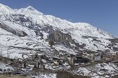 image of mustang  - Local houses at Muktinath village in lower Mustang district Nepal. This photo was shot in early morning. Area was cover by snow. - JPG
