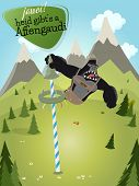 foto of gorilla  - funny cartoon gorilla with sign that means yes today there will be ape fun - JPG