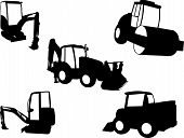 picture of construction machine  - illustration of black construction machines collection  - JPG