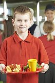 pic of school lunch  - Male Pupil With Healthy Lunch In School Cafeteria - JPG