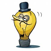 picture of bowler hat  - Cartoon Lamp idea looks like cute intelligent englishman with monocle and bowler hat - JPG