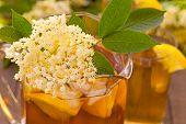 pic of elderberry  - Elderberry flower drink with sliced lemon and ice  - JPG