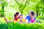 picture of little young child children girl toddler  - Young family with kids having picnic outdoors - JPG