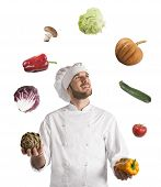 picture of juggler  - Chef plays with the vegetable as a juggler - JPG