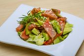 picture of avocado  - Salmon and avocado salad with dill and sesame seeds - JPG